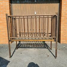 More details for lovely victorian fold up oak  drop sided child's cot/bed antique