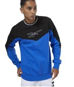Mens New Reebok Crew Logo Fleece Sweatshirt Jumper Pullover Cotton Sweater