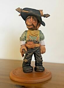 Western Cowboy Wood statue - hand carved figurine of a US Marshall rifle signed