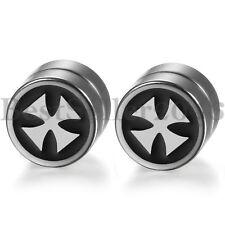 8MM Magnetic Round Circle Cross Stud Earrings for Men Women Non-Piercing Clip On