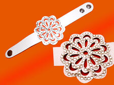 blanc Bracelet Bijoux de bras -Lederoptic Paillettes Applications 20 cm neuf