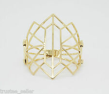 NWT  Juicy Couture Fashion Geo Deco Gold Hinged Snap Cuff Bracelet Bangle