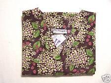 Berries & Blooms Scrub Top - S 100% Cotton Multi-Color Floral Women MAS