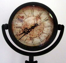 40cm Tall Vintage Black Metal Clock on Tripod World Map on Face Christmas Gift