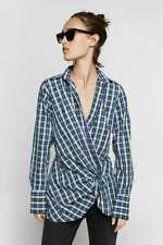 New With Tags Zara 100% Cotton Draped Check Plaid Wrap Shirt Blouse Top S