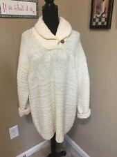 Lauren By Ralph Lauren Hand Knit Reindeer & Snowflake Cream Wool, Shawl Neck!