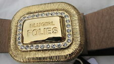 new BLUGIRL FOLIES taupe leather BELT gold + diamante logo'd feature buckle bnwt