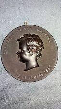 Antico BOIS durci Ritratto PLACCA Medaglione Principe Napoleone IMPERIAL 1856