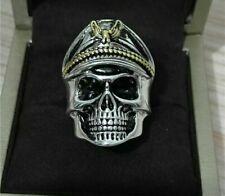 Anello placcato argento 925 teschio regolabile /  925 silver plated skull ring