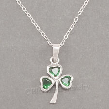 SHAMROCK Irish CLOVER Green cz Celtic Luck Pendant STERLING SILVER 925 Necklace