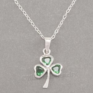 "SHAMROCK Necklace Irish CLOVER Pendant Green cz Celtic STERLING SILVER 925 18"""