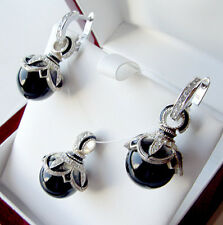 SALE !  SUPERB ENAMEL EGG PENDANT & EARRINGS SET STERLING 925 GENUINE ONYX