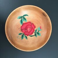 Vintage Hand Painted Turned Wood Bowl Rose Trinket Candy Nut Coin Dish Folk Art