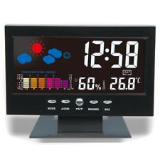 Color Display Led Digital Projection Alarm Clock Loud Snooze Calendar Weather