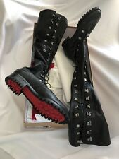 Christian Louboutin Black Leather Tie Up Lug Heel Over the Knee Corset Boots