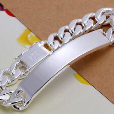 925Sterling Silver 10MM Sideways Square Clasp Men Women Bracelet Chain HY181