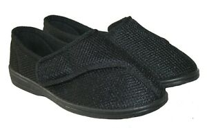MENS BLACK WASHABLE WIDE FIT TOUCH CLOSE BAR STRAP SLIPPER SIZES 6-12