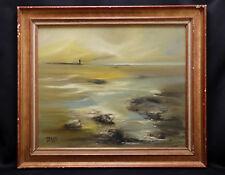 Robert LEVEQUE (XX) Marine Huile sur toile 54 cm x 65 cm Bretagne ?Normandie ?