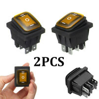 2 Waterproof 3-Position Rocker Switch Amber LED ON/OFF/ON 6-Pin DPDT AC 10A/250V