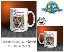 Norwegian Elkhound Personalised Ceramic Mug: Perfect Gift. (D266)
