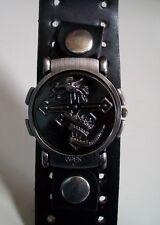 Men's fashion leather band biker style dial flip wear as wrist watch or bracelet