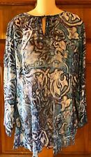 CHICOS 100% Silk Shirt Size 2 Sheer Blue Abstract Long Sleeve Blouse Top Large