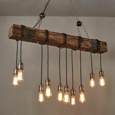 Rustic Industrial 10 Edison Bulb Chandelier Farmhouse Wood Island Pendant Light
