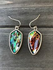 Green Abalone Teardrop Earrings FREE SHIPPING