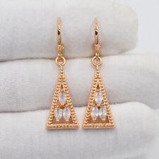 18K Gold Filled Women Clear Mystic Topaz Triangle Drop Dangle Earrings