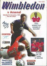 Football Programme - Wimbledon v Arsenal - Premiership - 21/11/1998