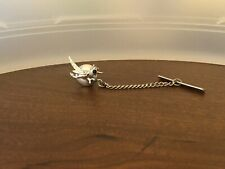 Vintage Silver Road Runner Tie Tac Hat Pin Brooch Black Eye