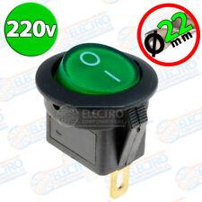 Interruptor 220v VERDE REDONDO luz on / off SPDT 125v 250v 230v panel empotrable