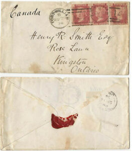 GB QV SG 1874 cover Fort William to Kingston Ontario Canada 1d x 3 nice cover
