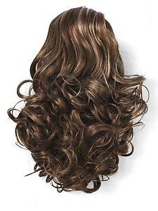 Postiche extension bouclés CLIP cheveux synthétiques  bouclée châtain balayage