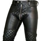 Men's Real High Quality Cowhide Leather Motorbike Pants Biker Jeans Trousers
