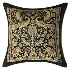 Indian Pillow Case Cover Elephant Brocade Silk Black Cushion Cover Throw 12X12""