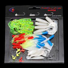 New General Fishing Lures Bait Tackle Soft Small Jig Head Box Set Simulation Kit