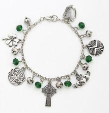 IRISH Charm Chain Bracelet, Claddagh, Harp, Shamrock, Celtic Cross, by Roman