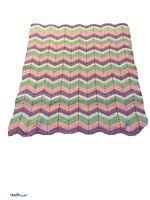 Vintage Handmade Baby Afghan Blanket Throw Chevron Gender Girl Pastel  50x45