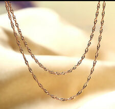 925 Sterling Silver Rose Gold Color 18Inches Water Wave Chain Choker Necklace