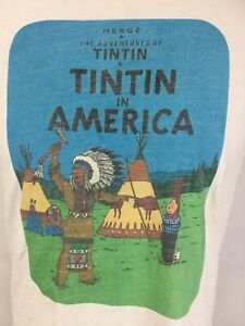 VTG 90's The Adventures of Tintin in America Comic T Shirt Adult Medium