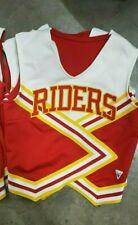 "Vintage Varsity Cheerleader Spirit Squad Top ""RIDERS"" White Yellow Red Size 34"