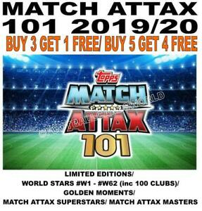 MATCH ATTAX 101 2019/20 2020 LIMITED/ STARS #W1-#W62 100/ GOLDEN /  EXCLUSIVES