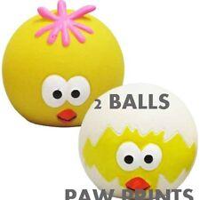 2 GOOD BOY  FACE SQUEAKY LATEX DOG BALLS PLAY FETCH & THROW BALL EASTER