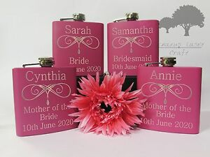 Personalised Engraved 6oz Pink Hip Flask.Brides wedding favour gift Box phf7