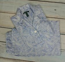 Ralph Lauren Women's Size Large Cotton Blue White Paisley Pajamas