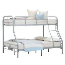Metal Twin over Full Bunk Beds Kids Teens Dorm Bedroom Sliver Furniture Ladder