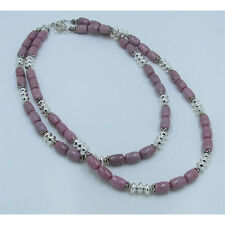 2 Separate 925 Sterling Silver Natural Rhodonite Tier Necklace Necklaces