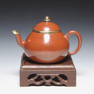 OldZiSha-China Yixing ZiSha Pure ZhuNi Small 90cc Polished Old Teapot W Copper