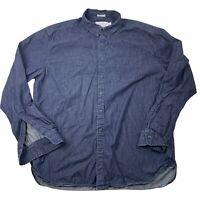LUCKY BRAND WHITE LABEL FIT Dark DENIM Long Sleeve Button-Down Shirt Pocket XL